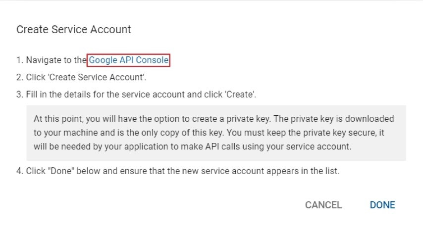 Google Play - go to API console